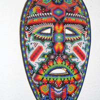 Unique Hand Beaded Carved Mask made by the by The Huichol Native American Indians.