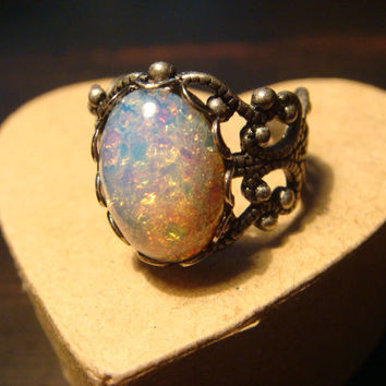 Victorian Style Fire Opal Antique Silver Filigree Ring- Adjustable (978)