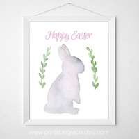 Watercolor Easter Bunny Wall Art Printable - 8 x 10 and 5 x 7 - Instant Download DIY Easter Card Easter Art