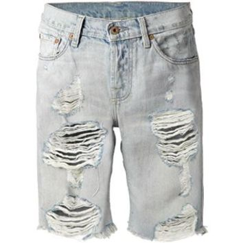Women Jane Boyfriend Vintage Wrangler's Long Shorts Shredded Holes Mid Rise