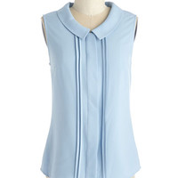 Profesh of Both Worlds Top in Sky | Mod Retro Vintage Short Sleeve Shirts | ModCloth.com