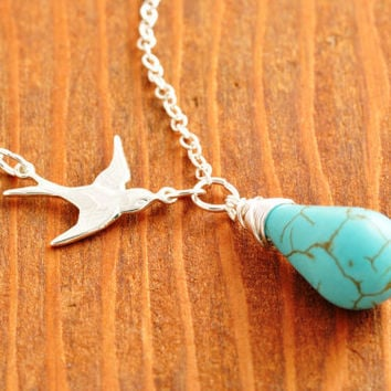 Flying Bird Necklace - turquoise necklace, small bird necklace, silver bird necklace, sterling necklace