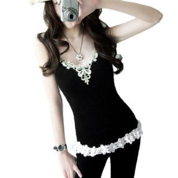 Women Lace Scoop Neck Stretchy Pullover Tank Top