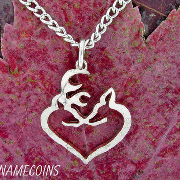 Buck and Doe Heart Freestanding In Quarter hand cut by NameCoins