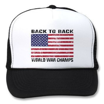 Back to Back World War Champs Trucker Hats from Zazzle.com
