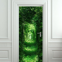 "Door wall sticker forest green tunnel rabbit hole wanderland self-adhesive poster, mural, decole, film 30x79"" (77x200 cm)"