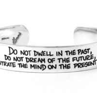 PRESENT MOMENT Buddha etched word quote sterling silver by HANNI