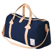 H2H Mens Canvas Travel Bag Mixed Leather Fashion Duffle Bag NAVY (JXSK31)