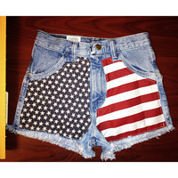 Highwaisted acid wash American flag denim shorts waist sizes 22,23,24,25,26,27,28,29,30,31,32 available and young girls sizes too