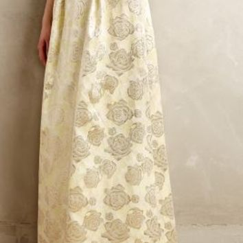 Gilded Rose Jacquard Maxi Skirt by Erin Fetherston Yellow