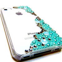 The Mermaid Rhinestone iPhone 4 4s Cell Phone Case w Crystals Faux Pearls BLING made in USA