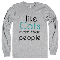 i like cats more than people-Unisex Heather Grey T-Shirt