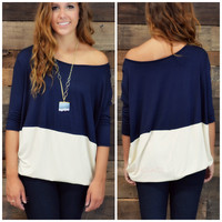Block Party Navy & Taupe Top