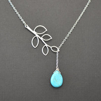 Turquoise teardrop and branch neckalce by LilliDolli on Etsy