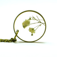 Baby's Breath Necklace, real flowers, resin jewelry, Pressed Flower Jewelry, Resin Necklace, Brass Jewelry