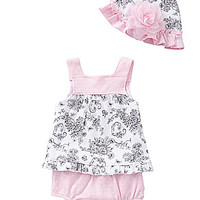Starting Out Newborn-9 Months Toile Top, Diaper Cover & Hat Set - Ligh