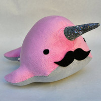 Narwhal Plush - with Mustache - Medium - MADE TO ORDER (Choose Colors)