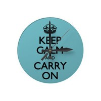 Blue Curacao Keep Calm And Carry On Round Clock