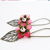 Cyber Monday Floral Beaded Earrings by PeriwinkleParadise on Etsy