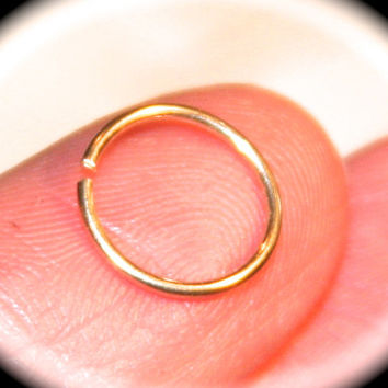14k Yellow Gold Filled Nose Ring, Cartilage Hoop, Tragus, Helix, Hex Endless Hoop
