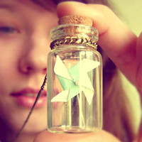 Vintage Retro Tiny Mint Origami Pinweel In The Bottle Long Necklace - Free Shipping - Made to order :)