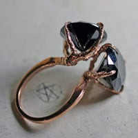conjoined. rose gold vermeil twin sparrow claw ring.