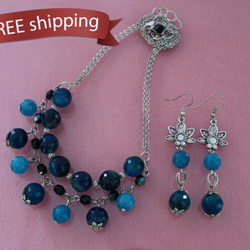 FREE shipping. Necklace and earrings blue agate, crystal beads, elegant jewelry set for woman