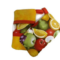 Red and Yellow Apple and Fruit Microwave Pot Holder Finger Mitts