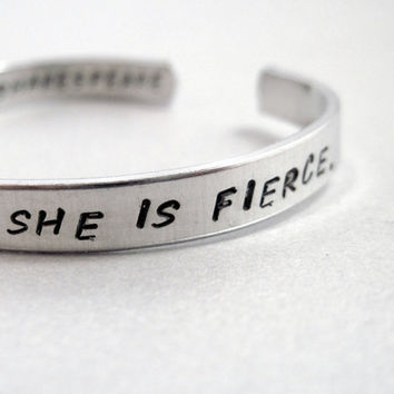 Shakespeare Bracelet - Though She be But Little, She Is Fierce - 2-Sided Hand Stamped Aluminum Cuff - customizable