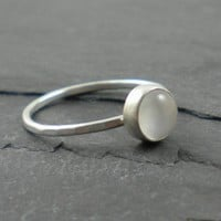 White Moonstone Ring Silver Hammered Band by SimplyRiveting