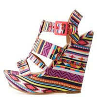 Pink Multi Strappy Tribal Print Wedge Sandals by Charlotte Russe