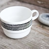 """One of a kind: Hand-painted vintage tea cup """"somewhat angular"""", black and white"""