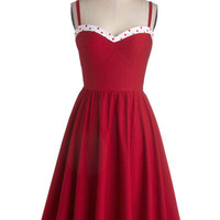 Stop Staring! Vintage Inspired Long Spaghetti Straps Fit & Flare The Neyla Dress in Rouge