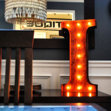 """24"""" I Vintage Marquee Light Up Letter (Rustic)"""