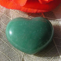 Solid Green Aventurine Puffy Gemstone Heart