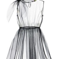 MSGM Black Tulle Dress Overlay Black