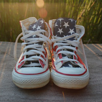 American Flag Converse All Star Vintage Stars and Bars Made in the USA Chucks Red White and Blue Fourth/4th of July 80s