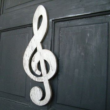 Treble Clef Sign Wooden Musical Symbol by SlippinSouthern on Etsy