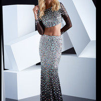 Crop Top With Long Sleeves Formal Prom Dress By Jasz Red 5337