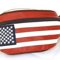Genuine Leather USA Flag Fanny Pack, Stars & Stripes Waist Bag or Belt Bag. Great for Travel or Everyday Use