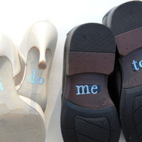 His & Hers I DO Shoe Stickers in Blue