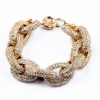 GOLD PAVE CHAIN BRACELET WHITE CRYSTALS