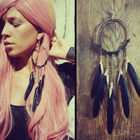 Handmade Large Black Dream Catcher Feather Earring by Cloud9Jewels