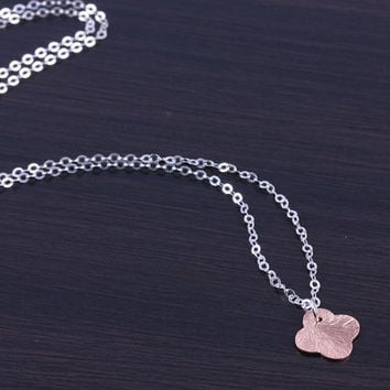 """Rose Gold Clover necklace, tiny clover necklace, lucky charm pendant, rose gold clover, gift under 20, sterling silver necklace, """"Himalia"""""""