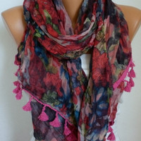 Floral  Scarf - Cotton Scarf - Shawl - Cowl Scarf with Lace Edge - fatwoman- Red Flowers - Beach wear