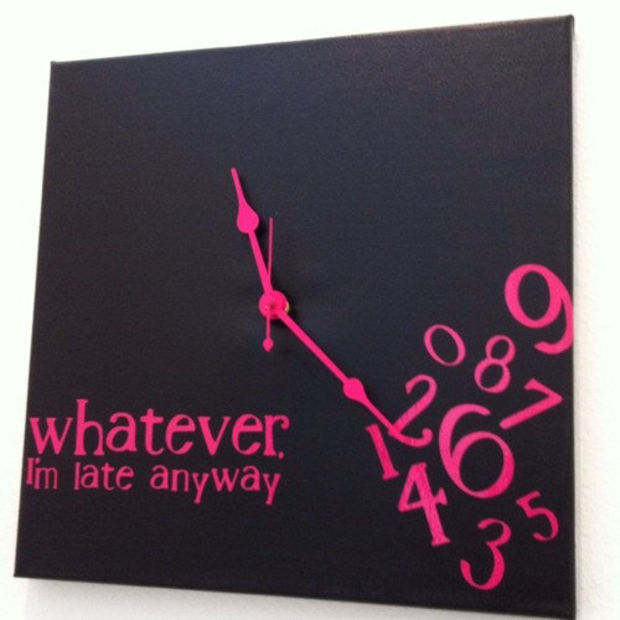 whatever, I'm late anyway clock (black and hot pink)
