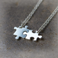 Jigsaw Puzzle Necklaces for Best Friends or Couple