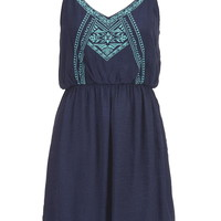 Embroidered Front Gauze Dress - Blue
