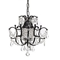 Crystal and Wrought Iron 1-Light Chandelier