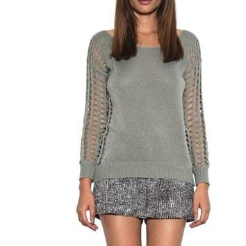 Dylan Pullover Open Holes Long Sleeve Knit Spring Sweater Sage One Grey Day